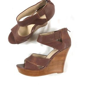 Seychelles Leather Brown Wedge Sandals Sz 9